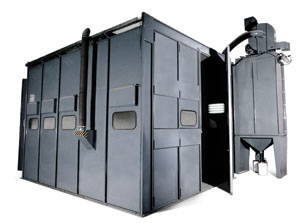 Shot blasting big superdicies in blast Rooms, Blasting systems integrated to  production lines, Blasting